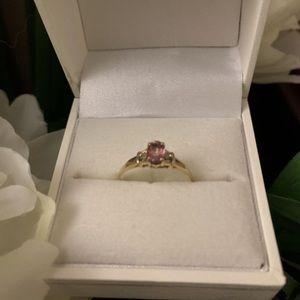 Jewelry - Ring - Solid 10K Gold Genuine Pink Topaz &Diamonds